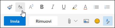 Opzione dimensioni schermata di un tipo di carattere nella barra degli strumenti formattazione.