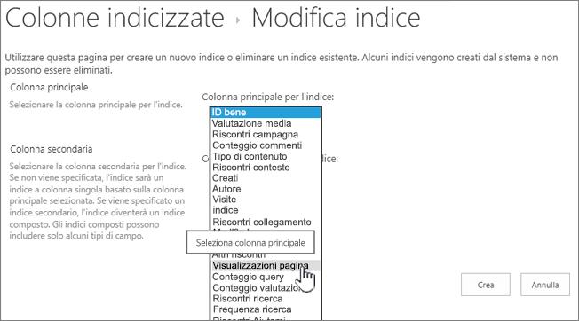 Modifica pagina di indice con colonna selezionata dall'elenco a discesa