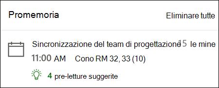 Esempio di promemoria per Outlook per il Web.