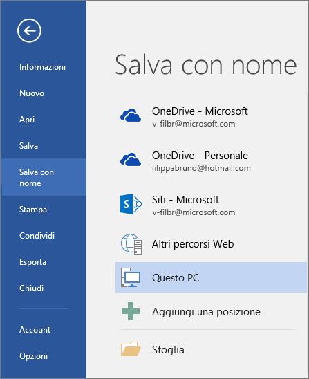 Le opzioni di Salva con nome vengono visualizzate dopo aver fatto clic su Questo PC.
