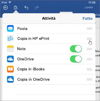 Per modificare l'ordine di visualizzazione delle app, è possibile trascinarle verso l'alto o verso il basso nell'elenco.