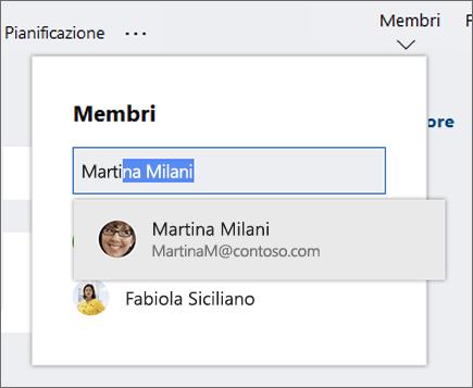 Screenshot dell'elenco Membri quando si immette il nome di un nuovo membro del piano.