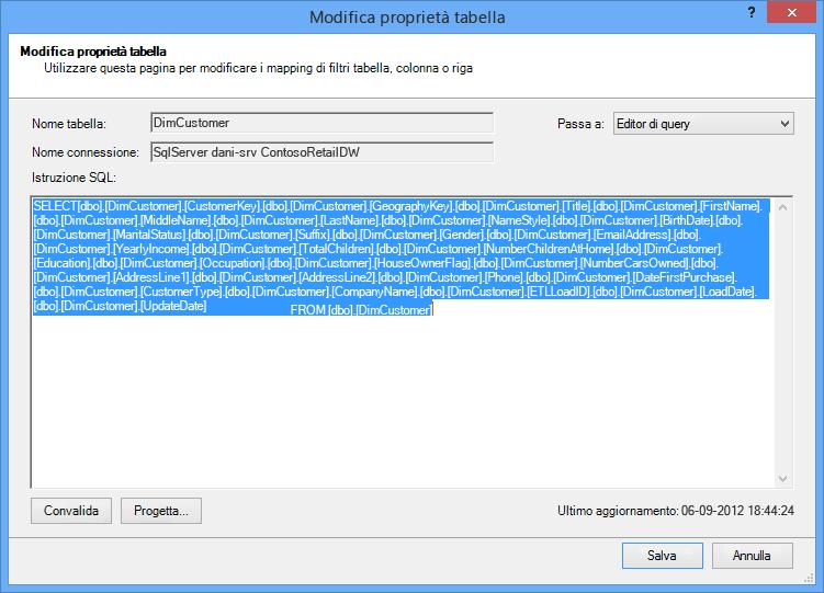 Query SQL utilizzata per recuperare i dati