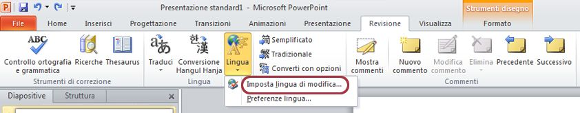 Imposta lingua nella scheda Revisione della barra multifunzione di PowerPoint