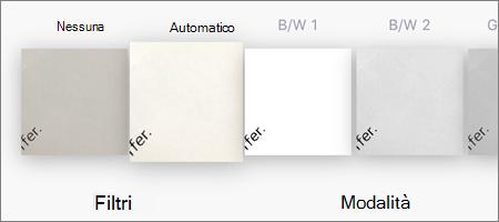 Opzioni di filtro per le scansioni delle immagini in OneDrive per iOS