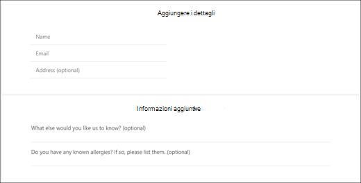 Cattura di schermata: che illustra le domande personalizzate per il cliente.