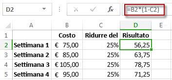 Risultati percentuale nella colonna D