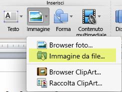 Nella scheda Home della barra multifunzione, in Inserisci, fare clic su Immagine > Immagine da file.