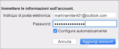 Aggiungere un account di posta elettronica