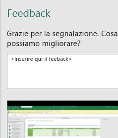 Finestra di dialogo Feedback di Excel