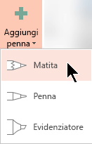 Gli abbonati a Office 365 possono disegnare input penna con tre diverse trame: una matita, una penna o evidenziatore