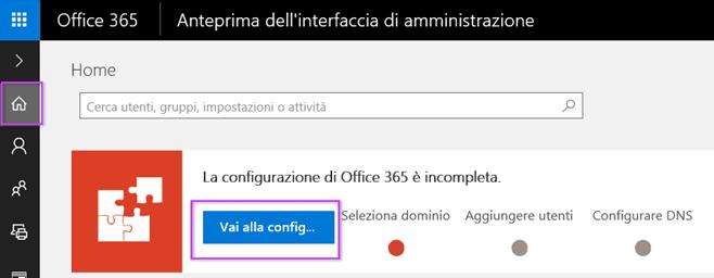 Configurazione dell'interfaccia di amministrazione di Office 365