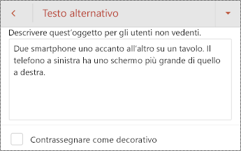 Finestra di dialogo testo alternativo per un'immagine in PowerPoint per Android.