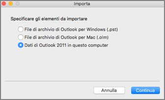 Schermata Importa con l'opzione Dati di Outlook 2011 in questo computer selezionata