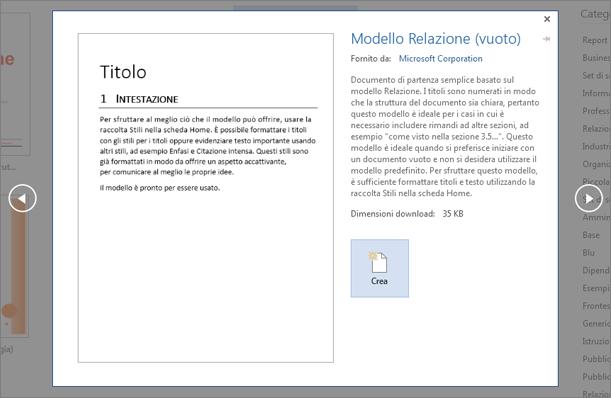 Visualizza l'anteprima di un modello struttura Report in Word 2016.