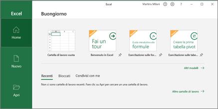 Creare una cartella di lavoro in Excel