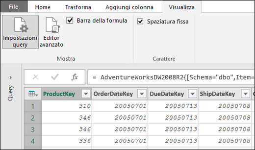 Power Query - Carattere a spaziatura fissa per l'anteprima dell'editor di query