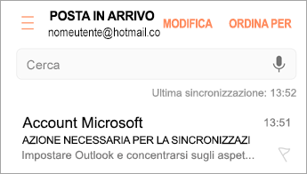 """Aprire il messaggio di posta elettronica con oggetto """"Azione richiesta"""""""