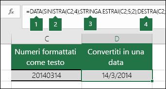 Convertire stringhe di testo e numeri in date