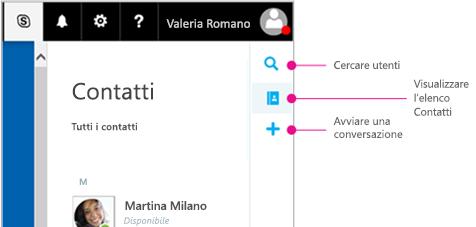 Barra laterale con le opzioni disponibili: ricerca di persone, visualizzazione dell'elenco contatti e avvio di una conversazione