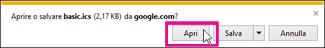 Google Calendar - apertura del calendario da Internet Explorer