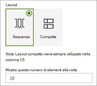 Selezione del layout nel riquadro delle proprietà della web part eventi.