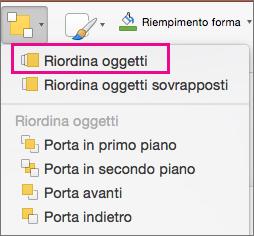 Riordina Oggetti nel menu Disponi