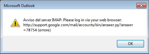 Se si riceve un messaggio di errore del server IMAP, verificare che le app meno sicure di Gmail siano impostate su Attiva, in modo che Outlook possa accedere ai messaggi.