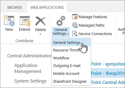 Sezione Gestisci della barra multifunzione con l'opzione Impostazioni generali selezionata