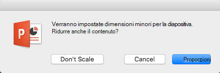 Quando si modificano le dimensioni delle diapositive, PowerPoint chiede se ridimensionare il contenuto per adattarlo alla diapositiva.