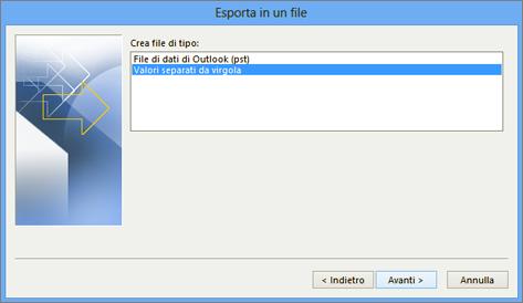 esportazione guidata di outlook - scegliere il file csv