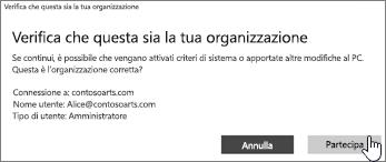 Nella schermata Verifica che questa sia la tua organizzazione, fare clic su Aggiungi