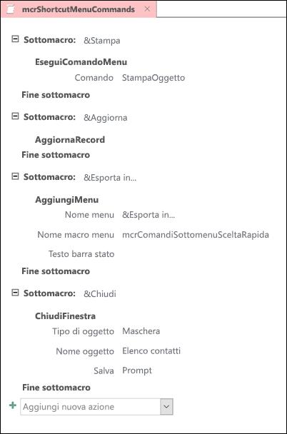 Screenshot di una macro di Access con quattro sottomacro