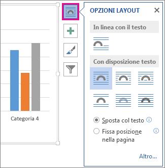 Immagine delle opzioni di layout per i grafici in Word