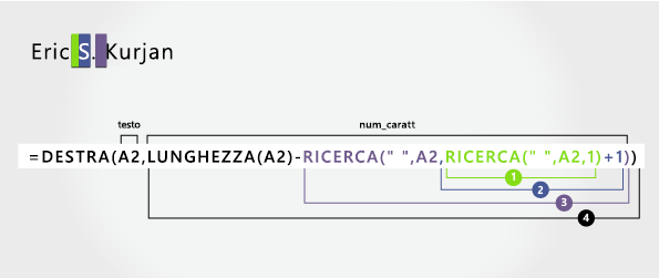 Seconda funzione di ricerca in una formula per separare il primo, il centro e i cognomi