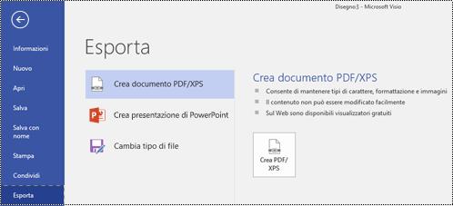 Opzione Esporta in PDF nella scheda File in Visio.
