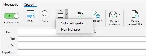 Visualizzazione del pulsante Crittografa in un messaggio di posta elettronica