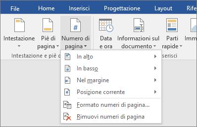Le opzioni Numero pagina sono visualizzate in un elenco.