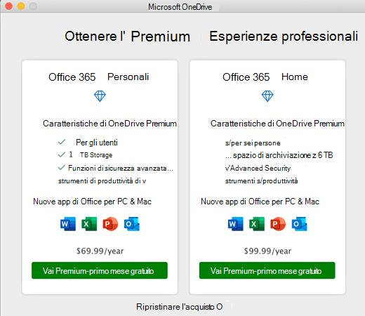 Screenshot di OneDrive ottenere la finestra di dialogo Premium Experience