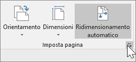 Schermata del gruppo Imposta pagina sulla barra degli strumenti con l'opzione Ridimensionamento automatico selezionata
