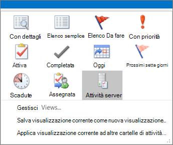 Fare clic su attività e scegliere un'opzione nella visualizzazione corrente.