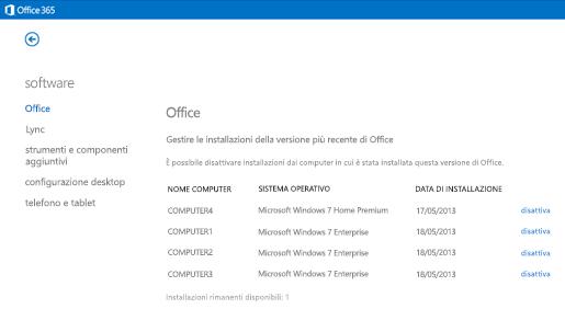 Gestione delle installazioni attive di Office 365