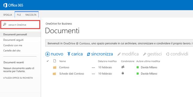 Schermata della casella di ricerca di OneDrive in Office 365.