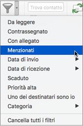 Usare Menzionati dal menu Filtra posta elettronica per cercare i messaggi di posta elettronica in cui si è menzionati con @