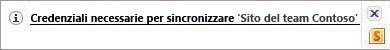 Avviso di sincronizzazione nell'area di notifica di Windows
