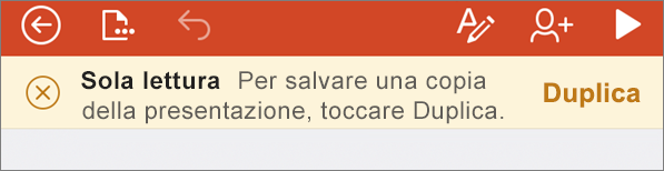 Notifica di sola lettura dopo l'apertura di un file ODF in PowerPoint per iPhone