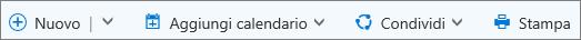 Barra dei comandi del calendario per Outlook.com