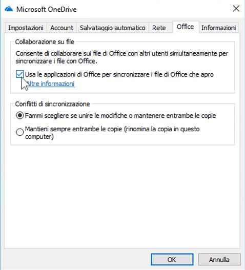 Screenshot della scheda Office in impostazioni per il client di sincronizzazione di OneDrive