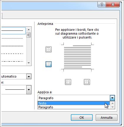 Il menu a discesa Applica a nella finestra di dialogo Bordi e sfondo