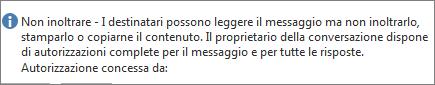 Messaggio Non inoltrare aggiunto al messaggio di posta elettronica.